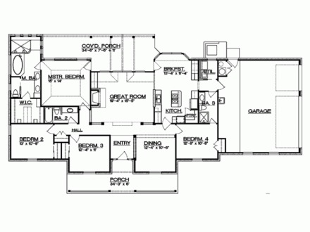 4 Bedroom Ranch House Plans 4-Bedroom Bungalow House