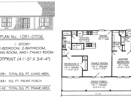 BM-21 Grad 21 X 35 1 Story 2 Bedroom House Plans