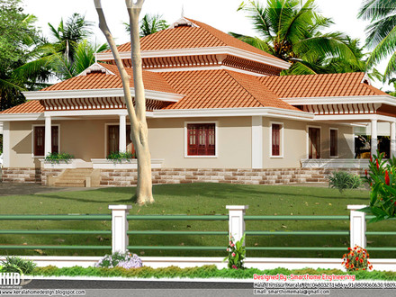 Kerala Style Single Storey House Design Over the Water Bungalows