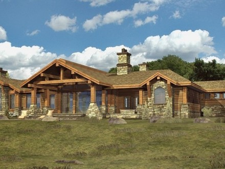 Log Cabin Ranch Style Home Plans One Story Log Cabins