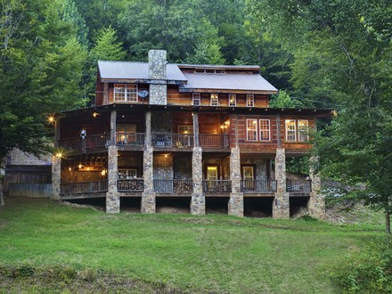 Log Cabin with Wrap around Porch Log Cabin with Waterfall