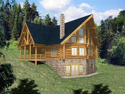 Log Home Plans with Loft Log Home Plans with Walkout Basement