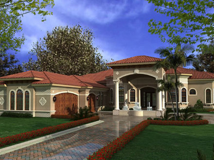 One Story Modular Homes Luxury One Story Mediterranean House Plans