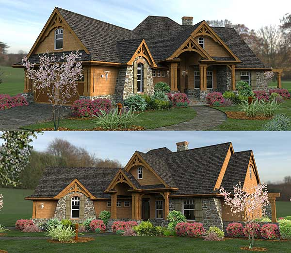 Craftsman House Plans Ranch Style: Ranch Style Log Homes Mountain Ranch Style Home Plans