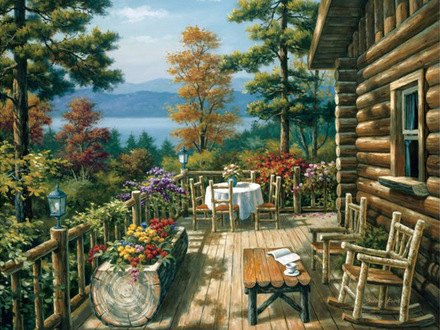 Scenic Paintings Robert Wood Cabin Log Cabin Paintings