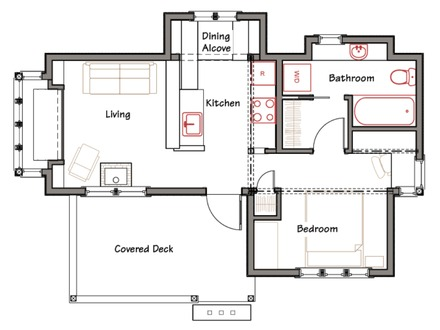 1 bedroom cabin floor plans small cabin floor plans with for Simple cabin plans with loft