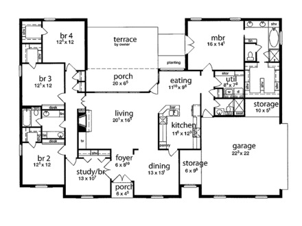Single Story 5 Bedroom House Floor Plans Small Bedroom