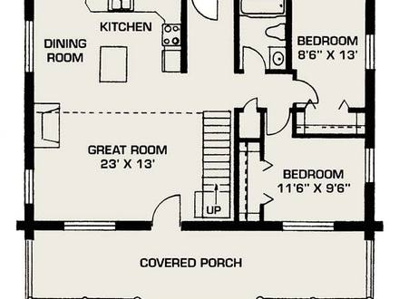 Small Log House Floor Plans Small Log Home with Loft