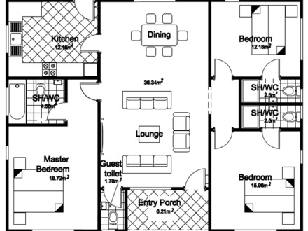 Three Bedroom Bungalow Plans Three Bedroom Bungalow Floor Plans
