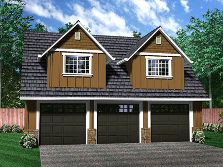 Rv garage with apartment plans rv garage with guest for Four car garage with apartment