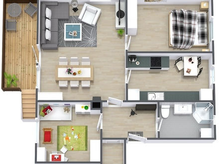 2 Bedroom House Floor Plans 3D 2 Bedroom Apartment Floor Plan