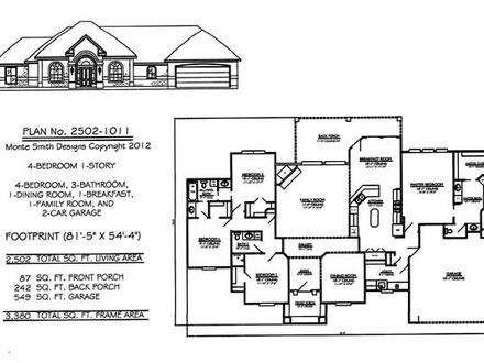 4 Bedroom 2 Baths 4 Bedroom One Story House Plans
