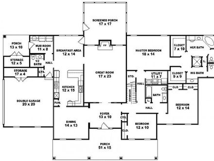 5 Bedroom House 5 Bedroom 3 Bath One Story House Plans