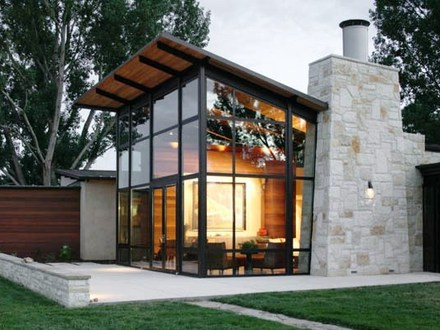 Glass and Stone Mix Tile Wood Glass and Stone House Designs