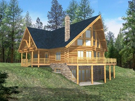 Log Cabin House Plans with Open Floor Plan Log Cabin House Plans with Basement