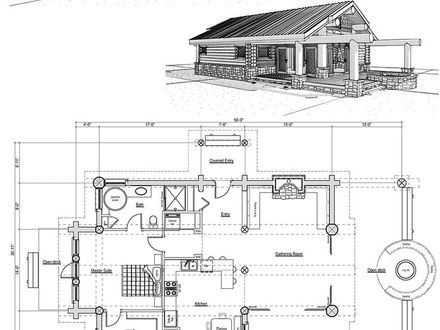 One Story Cabin Floor Plans Cabin with Two Dormers