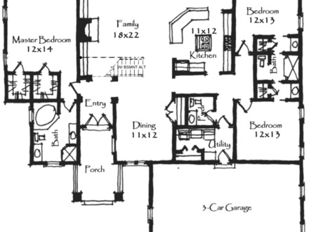 Simple 3 Bedroom House Plans House Plans 3 Bedroom 2 Bath Craftsman