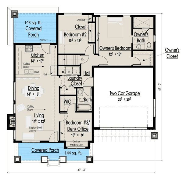 Simple single story 1300 sq ft house plan a simple story for House plans with character