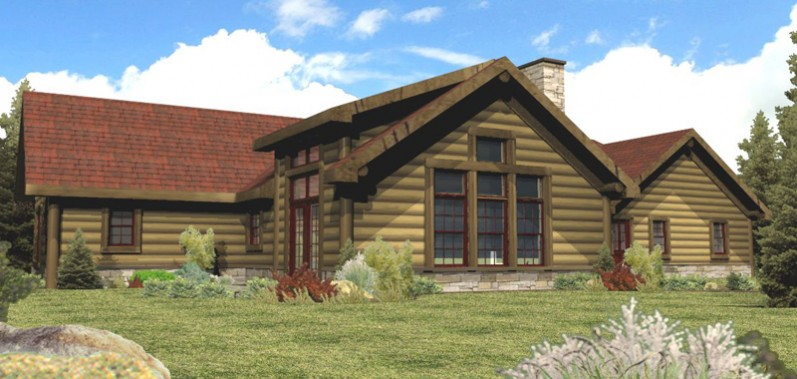 Single story cabin plans single story log cabin homes for Two story log cabin kits