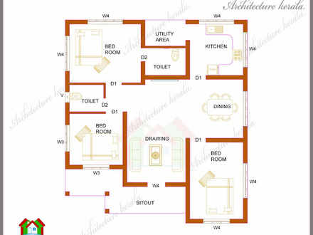 1200 Square Foot Open Floor Plans 3-Bedroom Kerala House Plan 1200 Square Feet