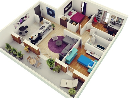 3D 3 Bedroom House Plans 3D House Plan 3 Bedroom Apartment