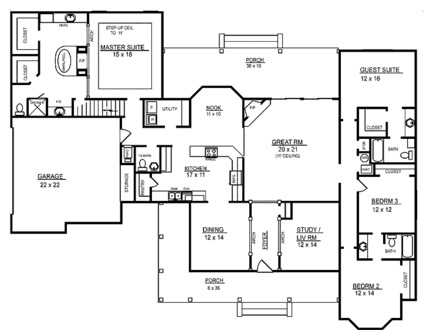 Rustic single level house plans single level brick house for Ranch home floor plans 4 bedroom