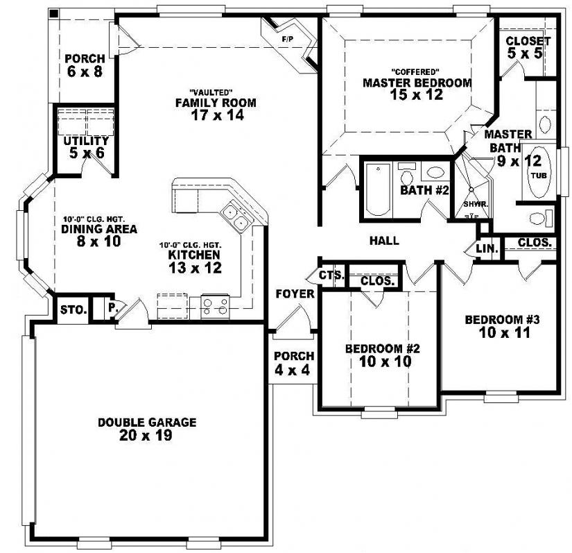 5 Bedroom Single Story House Plans Two Bedroom, one story ...