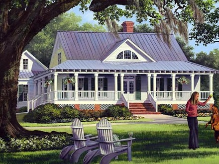 Country Farmhouse Paintings Low Country Farmhouse House Plans