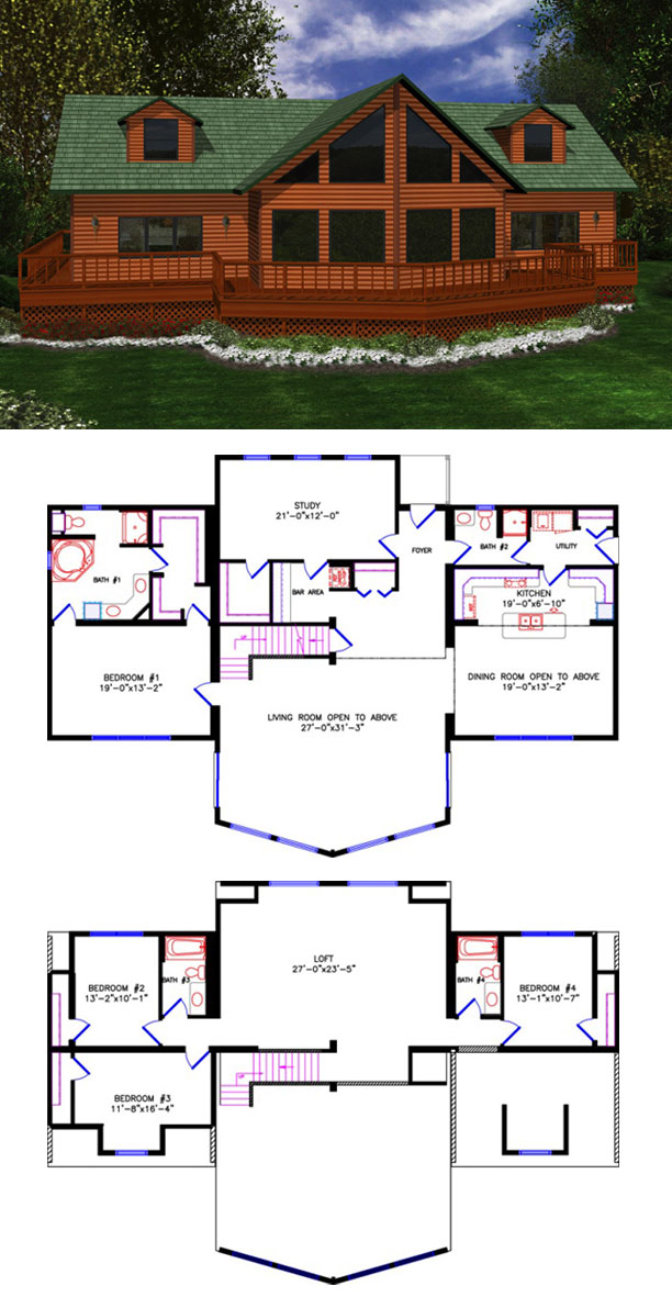 House plans with loft open loft style house plans loft for Ranch home plans with loft
