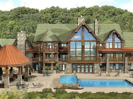 Log home floor plans log modular home plans large log for Luxury log cabins floor plans