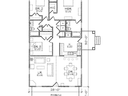 Bungalow house plans 1200 sq ft 1200 sq ft plans narrow for Narrow lot craftsman house plans