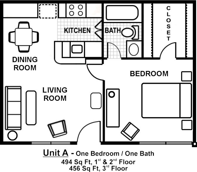 One Bedroom Apartment Kitchens Small One Bedroom Apartment Floor Plans