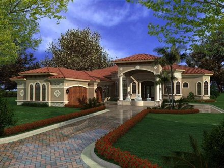 One Story Homes One Story Mediterranean House Plans