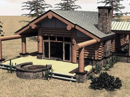 One Story Log Cabin House Plans One Story Log Cabin with Garage