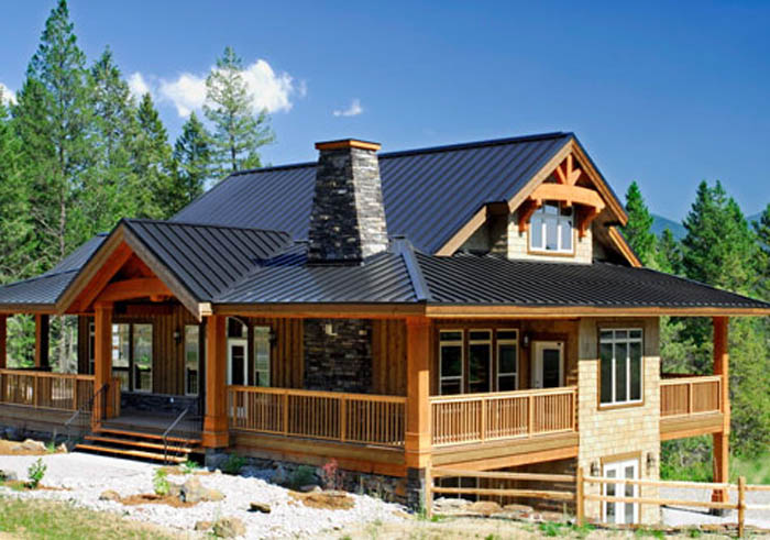 Post and beam foundation cabin small post and beam homes for Modern post and beam house plans
