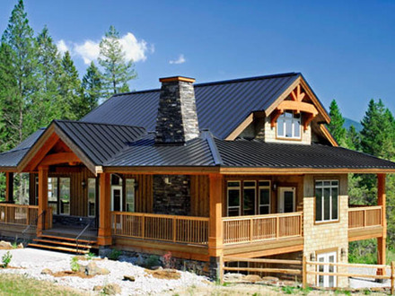 Chalet style log home plans chalet style house kits for Small post and beam homes