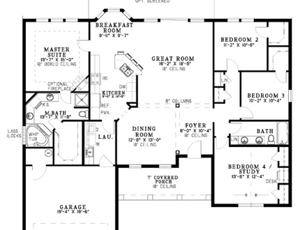 Simple Single Floor House Single Level House Floor Plans