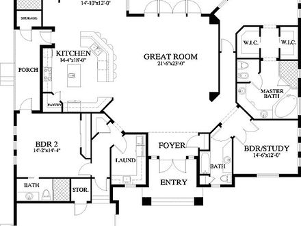 Single Level House Floor Plans Single Floor House Plans with Open Design