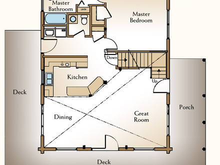 Small Log Cabin Floor Plans with Loft Log Cabin Kitchens