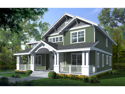 Traditional Two-Story House Two Story Craftsman House Plan with Front Porch