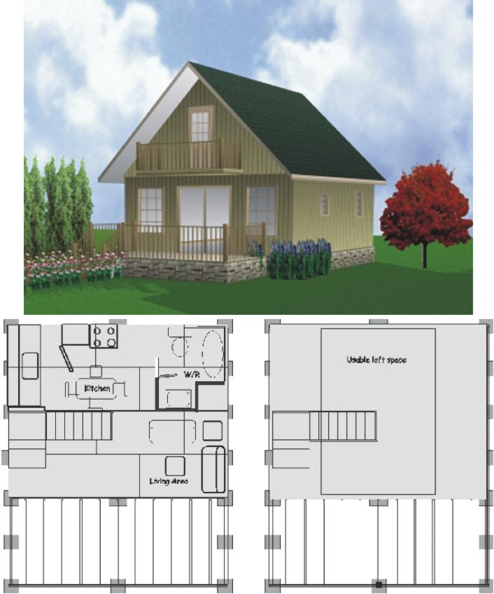 Two story guest cottage 2 story cottage floor plans 2 for Two story guest house plans