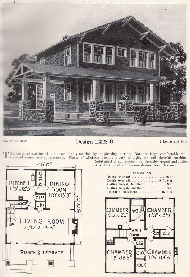 2 story 1920s craftsman bungalow house plans 1 1 2 story for Chalet bungalow floor plans