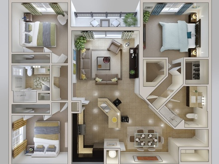 3D House Plan 3 Bedroom Apartment 3D Small House Plans