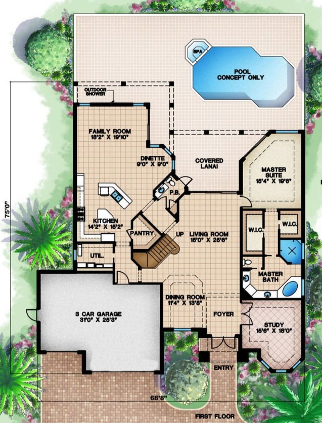Beach house floor plan beach narrow lot house plans floor for Beach house plans narrow lot