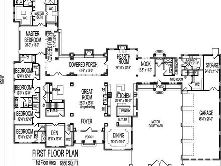 Big One Story House Floor Plans One Story Ranch House