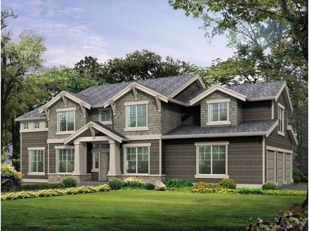 Craftsman Two Story House Curved Two-Story House with an Outside Wall