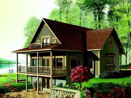 Lake House Plans With Rear View Lake House Plans With Wrap