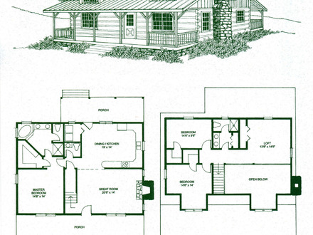 Log cabin floor plans with wrap around porch log cabin for 4 bedroom log cabin kits