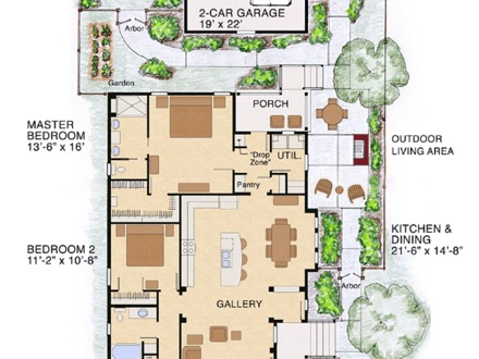 Narrow bungalow house plans for Bungalow floor plans for narrow lots