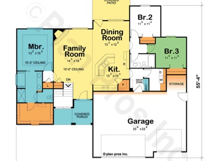 One Story House Plan With One Story House Plans with Open Concept